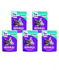 Combo Whiskas Sachê Gatos Castrados Peixe 85g - 5 unidades