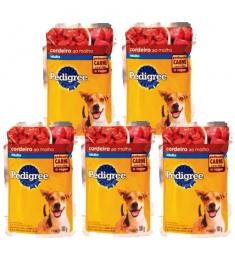 Combo Pedigree Sachê Cães Adultos Cordeiro 100g - 5 unidades