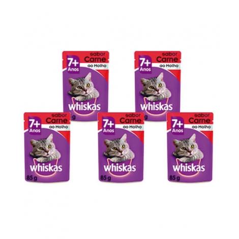 Combo Whiskas Sachê Gatos Adultos Carne ao Molho 85g - 5unidades