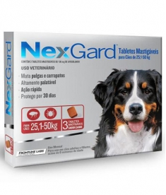 Antipulgas e Carrapatos Nexgard  para cães de  25 a 50Kg com 3 Tabletes Mastigável