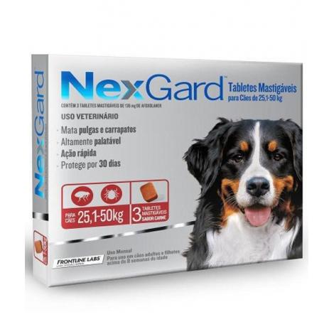 Nexgard  para cães de  25 a 50Kg com 3 Tabletes Mastigáveis