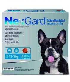 Antipulgas  e Carrapatos Nexgard para cães de 4,1 a 10kg com 3 Tabletes Mastigável