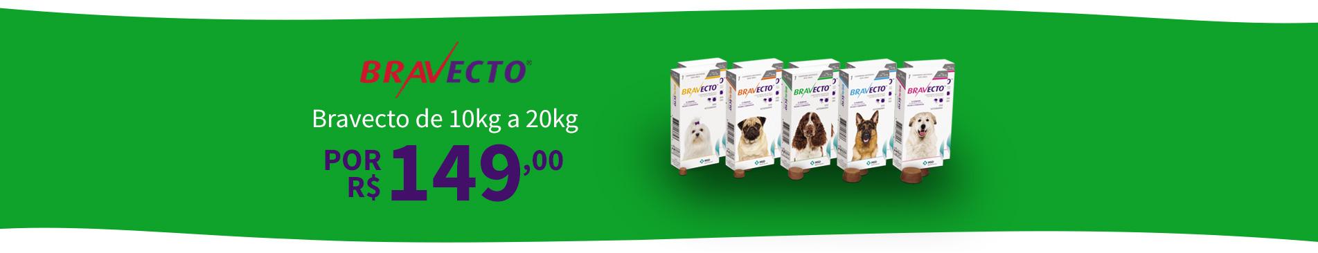 Bravecto de 10kg a 20kg por R$149