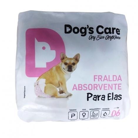 Fraldas Para Fêmeas Dogs Care Tam P - 6 unidades (Cadelas de 3 a 6kg)