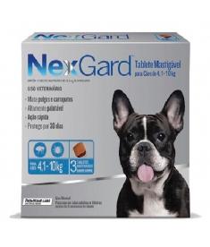 Nexgard  cães de 4,1 a 10kg com 3 Tabletes Mastigavéis