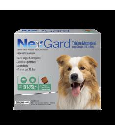 Antipulgas e Carrapatos Nexgard para cãesde  10,1 a 25 Kg com 3 Tabletes Mastigável