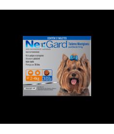 Nexgard para cães de 2 à 4kg com 3 tabletes mastigáveis